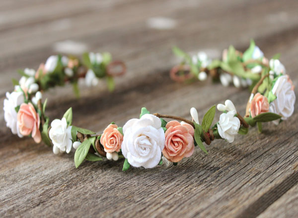 Peach Flower Crown Head Wreath White Rose Wedding Hair Wreath